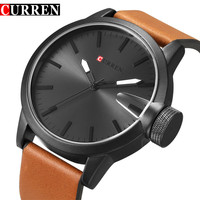 Curren Luxury Brand Quartz Watch Men Big Dial Leather strap Gold Clock Male New Fashion Casual Sport Men's Wristwatch