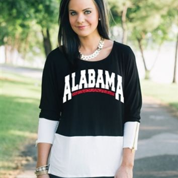Alabama Colorblock Zipper Tunic Top | Alabama Lady's Top | Alabama Ladies Apparel