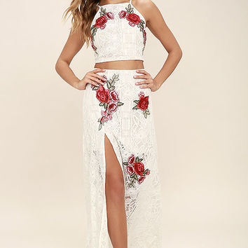 Take a Vow Ivory Lace Two-Piece Maxi Dress