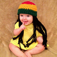 Baby Rasta Beanie Wig, Baby Boy or Girl Halloween Costume, Baby Hat, Red Yellow Green Rasta, Baby Rasta Dreads, Black Dreadlocks, Baby Wig