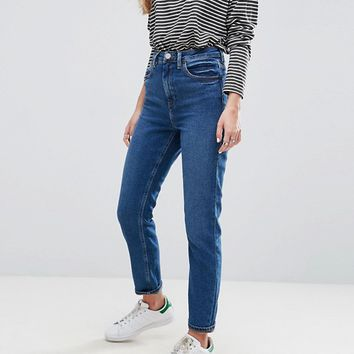 ASOS FARLEIGH High Waist Slim Mom Jeans in Blossom Dark Wash at asos.com
