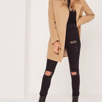 Missguided - Biker Coat Camel