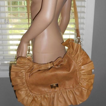 Vintage Valentino Leather Shoulder Bag / Italian Designer / Crossbody Bag / Ruffle Leather Valentino Purse Banana Handle Shoulder Strap