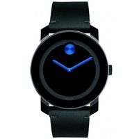Movado Bold Black and Cobalt Blue Dial Leather Watch