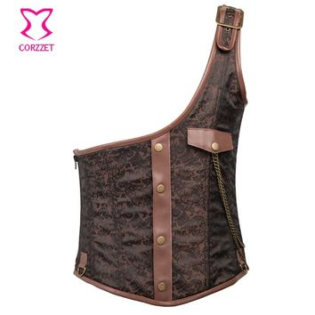 Corzzet Brown Faux Leather One Shoulder Steampunk Mens Corset Vest Waist Trainer Steel Boned Brocade Men Underbust Corset Jacket