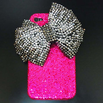 Bling Crystal Iphone 4 Silver bow Case, iphone 4G Case, iphone 4S Dark Pink Case, iphone 4 Bow Case Cover BB