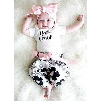Summer 2018 baby girl clothes Floral fashion cotton t-shirt+pants+headband kids toddler 3pcs suit newborn baby girls clothing
