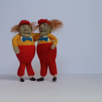 Tweedle Dee & Tweedle Dum Doll Set Miniature dolls Gifts for twins Gift for brother matching best friend gift