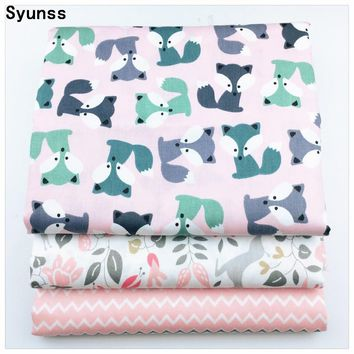 New Printed Twill Cotton Fabric diy sewing baby cloth Quilting kids bedding textile Patchwork Fabric diy tecido Pink Fox Waves
