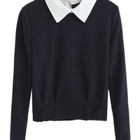Black Long Sleeve Top with Contrast Collar