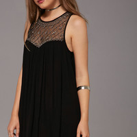 Beaded Yoke Mini Dress