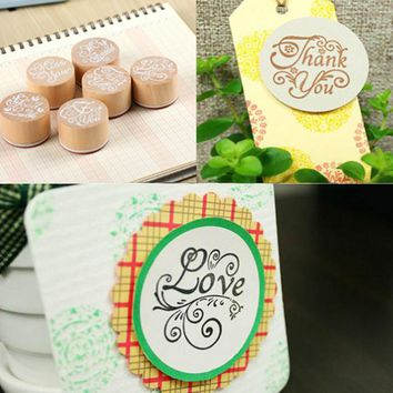 Doreenbeads DIY Scrapbooking Lace Stamps Vintage Flower Wood Rubber Craft Ink Pad Stamp Wax Seal Stamp Thank you friend 4x2.4cm