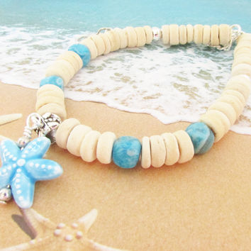 Starfish with Coconut Shell Boho Necklace