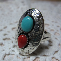 Turquoise & Coral Sterling Silver Ring Size 8