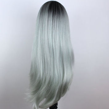 Zara- Dark rooted Frozen Mint Lacefront Wig