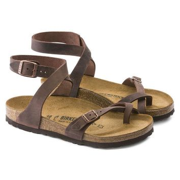 Birkenstock Yara Oiled Leather Habana Beach Sandals