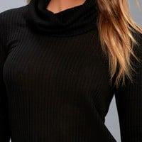 Shasta Black Cowl Neck Sweater Top