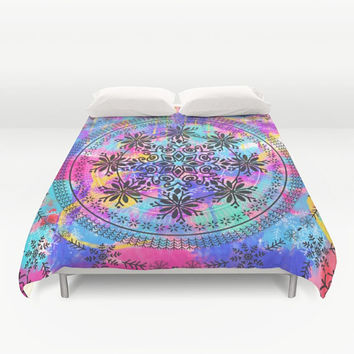 Duvet Cover, Decorative Colorful Mandala, Colorful duvet, mandala bedding, Indian Mandala Bedding Home Interior Decoration