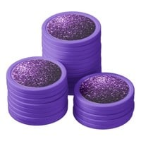 Beautiful Purple glitter sparkles Poker Chips Set