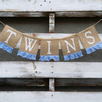 Twins Burlap Banner,Shabby Chic Baby Shower Decor, Baby Arrival Banner, Gender Reveal Banner, Baby Photo Prop, Maternity Photo Prop