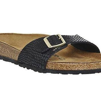 Birkenstock MADRID Ladies Mule Buckle Sandals Snake Black