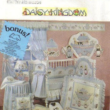 Simplicity 7255 Sewing Pattern Baby Nursery Items Quilt Diaper Stacker Headboard Bib Bumpers Pillow Hooded Towel Dust Ruffle Daisy Kingdom