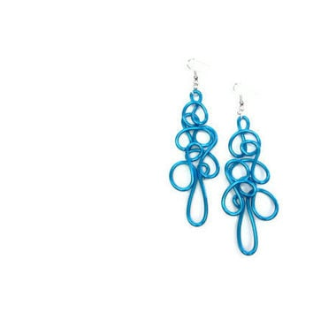Large Turquoise Earrings Ocean Blue Lacy Wire Art Dangle Abstract Statement Jewelry