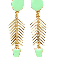Mint Fishbone Earrings