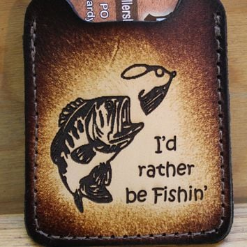 Flip Clip, Engraved BASS fish -- Men's Brown Leather Credit Card Wallet with Money Clip--Initials Free!
