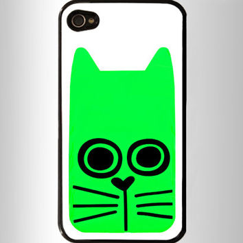 Green cat iPhone 4 Case, iPhone 4s Case, iPhone 5 case,Samsung GALAXY S III