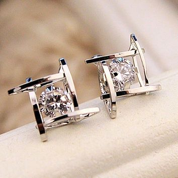 Charming Crystals Square Stud Earrings