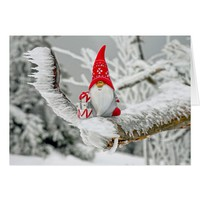 Elf in Ice Storm with Presents and Red Hat Card