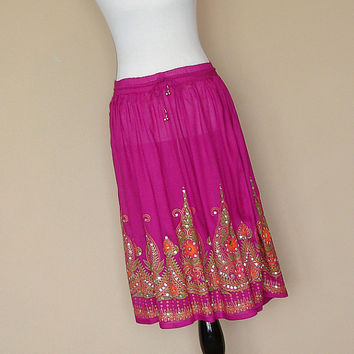 Gypsy Skirt: Bohemian Skirt, Indian Knee Length Burgundy Maroon Boho Indian Floral Sequin Flowy Crinkle Skirt