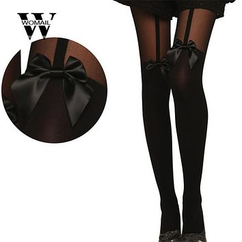 Amazing Vintage Tights Bow Pantyhose Tattoo Mock Bow Suspender Sheer Stockings with Butterfly knot Dec 18
