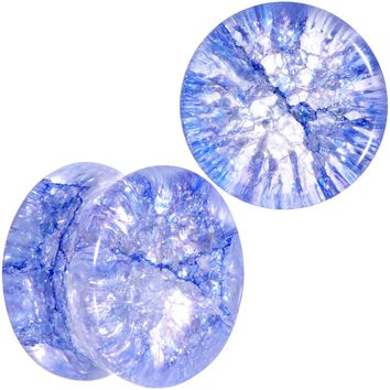 "9/16"" Blue Shattered Glass Wild Child Saddle Plug Set"