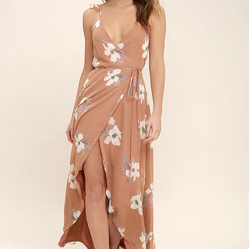 All Mine Rusty Rose Floral Print High-Low Wrap Dress