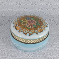 Daher Tin Container, Vintage, Small, Round, Floral, Daher Decorated Ware, Made In England, Blue,