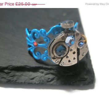 SUMMER SALE Jewelry Steampunk Ring Vintage Watch Ring clockwork Light Sapphire Montana Sapphire Swarovski crystal Blue Filigree