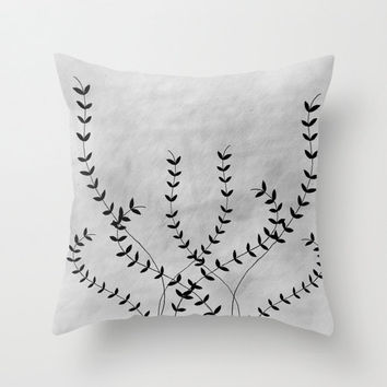 White and Grey Ivy Throw Pillow Cover Decorative Pillow Home Decor Illustration Black Accent Pillow, Black and White Camp & Cabin Collection