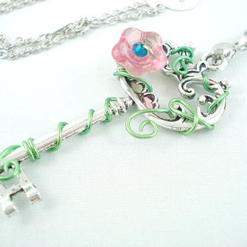 Titania's Secret Garden Key in Pink Necklace by angelyques on Etsy