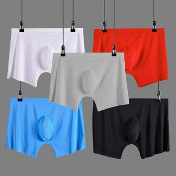 men underwear Boxer shorts Ice silk Seamless u convex design very soft sexy kilot male men's underpants cueca boxer homme