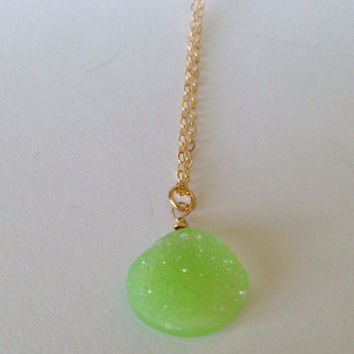 """Lovely Lime Druzy Agate """"Unity""""  Pendant Gold Necklace"""