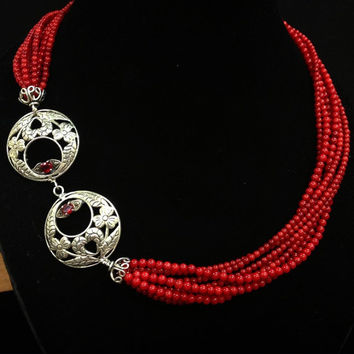 Multi Strand Twisted Coral Bead Necklace Sterling Silver Red Beaded Necklace with Unique Silver Custom Made Clasp with Ruby Cubic Zirconia