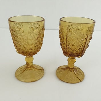 2 Antique glass Daisy & Button with Thumbprint amber goblets Adams & Co.