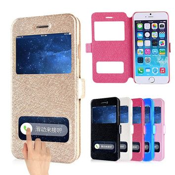 Case For iphone 8 7 6S 6 Plus Dual View Window Leather Wallet Stand Flip Cover For iphone X 5 5S SE 5G 4 4s Phone Cases Coque