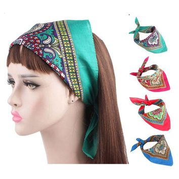 New Women Paisley Design Bandanas 100% Cotton Square Scarf Head Wrap Scarf Headbands Girls Hair accessories