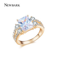 NEWBARK Halo Zirconia Rings For Women Gold Plated and White Gold Plated Bridal Engagement Ring