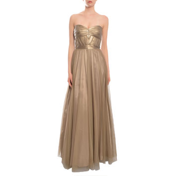 Aidan Mattox Women's Gold Paneled Metallic Bodice Gown