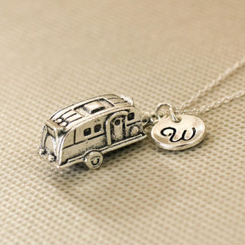 Camper Trailer Necklace. Personalized Initial Necklace. RV Charm Necklace.Travel Necklace. Sterling Silver Necklace. No.170