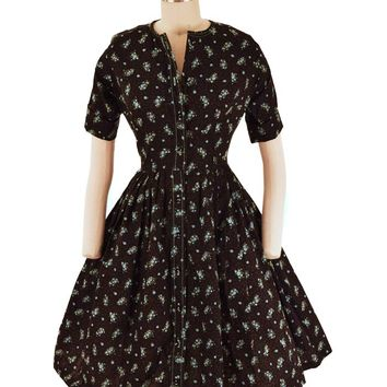 60s Floral Full Skirt Shirtwaist Dress-S